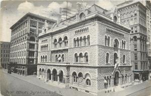 Syracuse New York~Post Office~Buildings On All Sides~1908 B&W Postcard