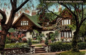 California Beautiful Home Banked With Flowers 1920