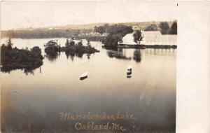 F21/ Oakland Maine RPPC Postcard 1907 Messolanske Lake Boats