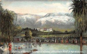 LPS31 Harlam Springs California Bathing in Winter Arrowhead Hotel Postcard