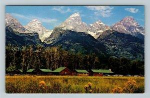 Moose WY- Wyoming, Highlands Lodge, Grand Tetons Background, Chrome Postcard