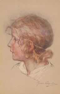 AS: Side Profile Hand Colored Sketch of Young Blond Girl