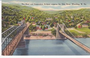 Steel & Suspension Bridges , Ohio River , WHEELING , West Virginia , 30-40s