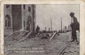 San Francisco California 1906 Postcard Earthquake Twisted Streetcar Tracks
