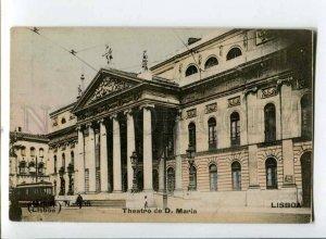 299837 PORTUGAL LISBOA Maria theatre TRAM Vintage tinted postcard