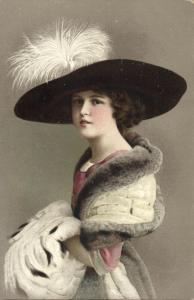 Edwardian Lady with Huge Hat, Fashion Woman Glamour (1912) Postcard (2)
