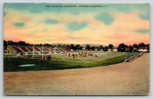 Kingston NY~Municipal Stadium Bleachers~Football Players on Field~1940s Linen