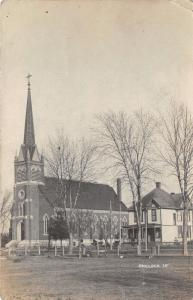 Chelsea Iowa~St Joseph Church & House Nextdoor on Station Street~1907 RPPC