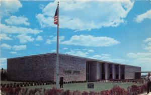 Levittown Long Island New York~Town Hall Building~Person by Flag Pole~1950s Pc