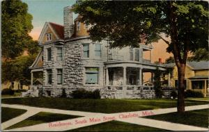 Charlotte MI~Grocer Geo Spencer Home~Gorgeous Stone~South Main St~Turret~c1910