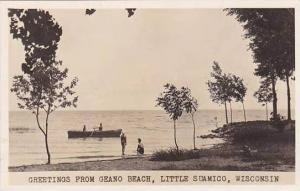 Wisconsin Little Suamico Greetings From Geano Beach 1950 Real Photo RPPC