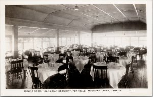 Dining Room Canadian Keswick Ferndale Muskoka Lakes Ontario ON RPPC Postcard F16