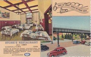Iowa Marshalltown Stone's Restaurant Since 1887 Curteich sk6647