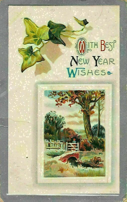 With Best New year Wishes Bridge Painting Art Postcard