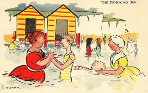Raphael Tuck Artist H. Cowham The Morning Dip Postcard