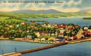 VT - Newport. Lake Memphremagog and City from Pine Hill
