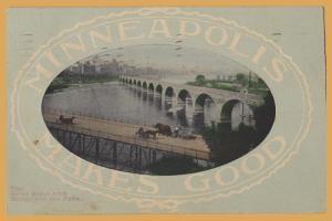 Minneapolis, Minn., Minneapolis Makes Good The Great Stone Arch Bridge-1908