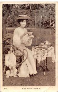 Miss Millie Legarde Fancy Hat Dress Actress, Tea Party, Dog Pet