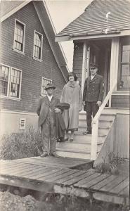 Alaska AK Real Photo RPPC Postcard Rare 1920 EYAK Uniformed Man Woman Porch Home