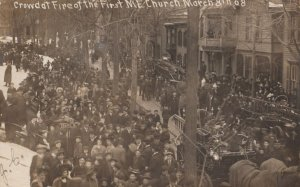 RP: SCHENECTADY , New York , 1908 ; Crowd at Fire of the first M.E. Church