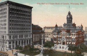 WINNIPEG , Manitoba , Canada , 1911 ; City Hall & Union Bank