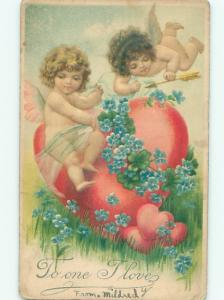 Pre-Linen Valentine CUPIDS FLYING OVER HEART AB3082