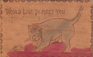COMIC,PU-1906; Would like to meet you, Cat following a mouse