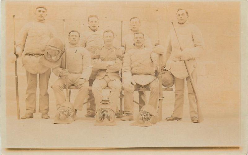 Vintage sportsmen real photo postcard rifles helmets sport team to identify