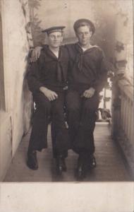 Sailors In Uniform Posing E A Jones & H McKoon Real Photo
