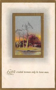 Motto & Sayings Post Card God Created Woman 1914