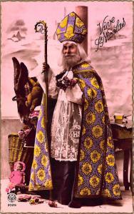 Christmas Santa Claus Purple Robed St Nicolas Staff Doll Teddy Bear Postcard