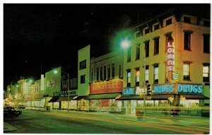 Postcard - Night View 12th St. on Broadway in Columbus, Georgia