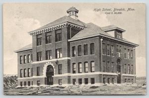 Biwabik Minnesota~High School~Construction Mess Outside~1908 B&W Postcard