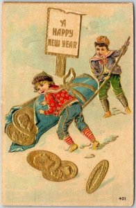 HAPPY NEW YEAR Greetings Postcard Boy & Girl / Large Gold Coins 1912 Cancel