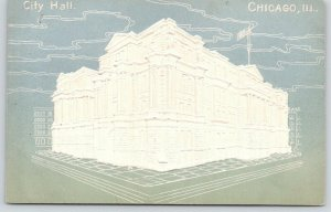 Chicago Illinois~City Hall~White Embossed~Mint Green~c1905 Airbrushed Postcard