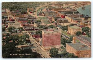 Postcard IL Moline Aerial Air Birds Eye View of City Vintage Linen R20