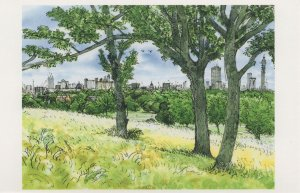Primrose Hill Trees By Telecom Tower London Painting Postcard