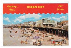 NJ Greetings from Ocean City New Jersey Beach Boardwalk Jack Freeman Postcard