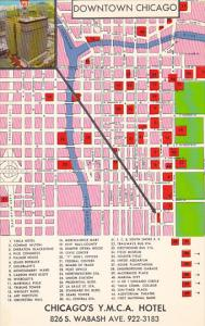 Map Of Downtown Chicago With Y M C A Hotel