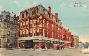 Erie Pennsylvania Baker Block Street Scene Antique Postcard K28107