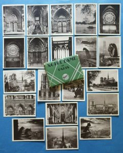 Notre Dame de Paris Cathedral Vintage Pack of 20 Mini Black & White Prints Cards