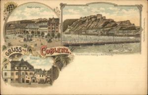 Gruss Aus Coblenz Germany Multi-View c1900 Postcard