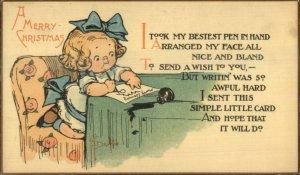 Grace Drayton - CHRISTMAS Cute Little Girl Writing Letter Spilled Ink Well PC