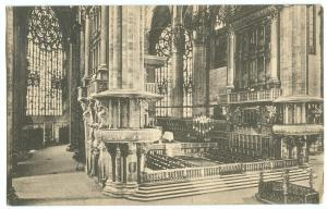 Italy, Milano, Cattedrale, Il Coro, early 1922 stamped, unused Postcard