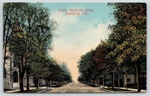 Sheboygan Wisconsin~North 6th Street Homes & Church~Dirt Road~c1913 Postcard