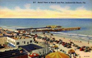 FL - Jacksonville Beach. Aerial View of Pier & Amusements