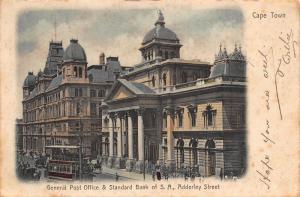 South Africa Cape Town post office bank tram Adderley street postcard