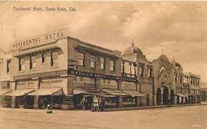 SANTA ROSA, California  CA   Occidental Hotel   Street Scene  1910s    Postcard