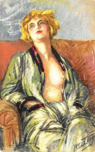 Beautiful Lounging semi-Nude Woman Signed Yves Thiey  Postcard