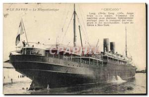 Old Postcard Boat Le Havre The Transatlantic Chicago